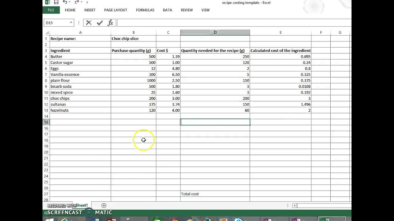 Costing A Recipe Part 2 Excel Demonstration Youtube