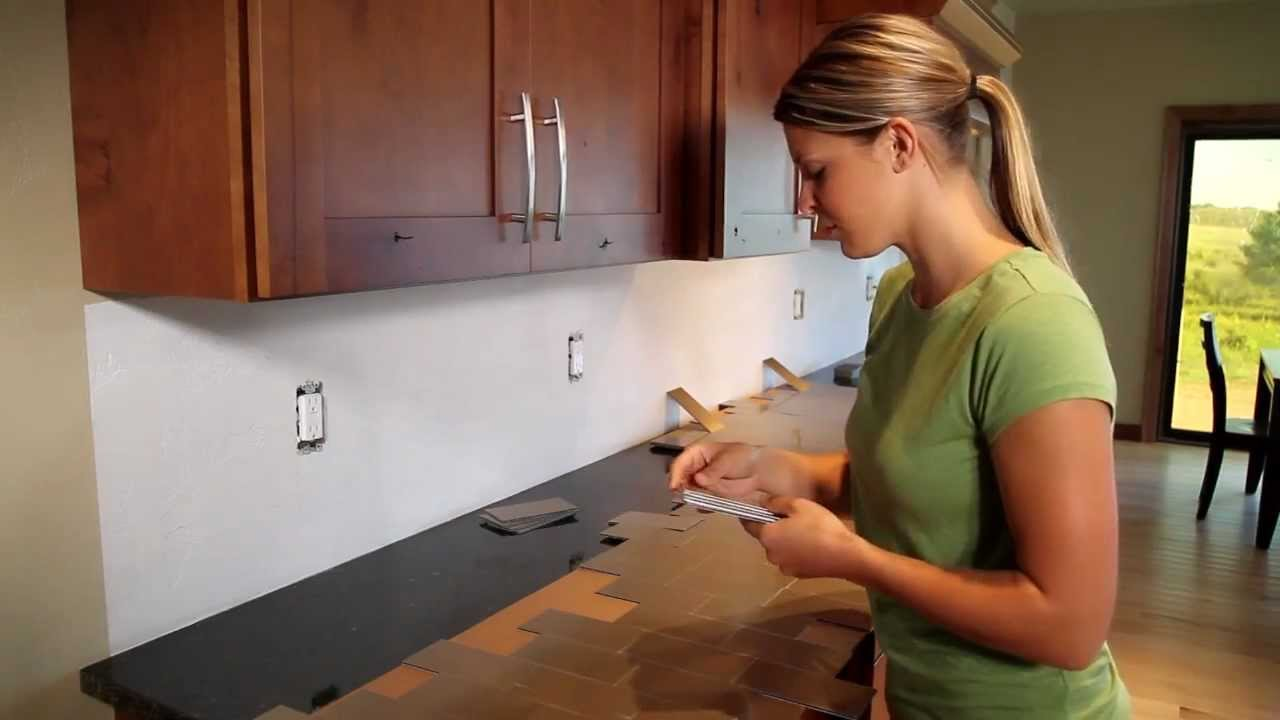 Metal backsplash tile installation youtube dailygadgetfo Choice Image
