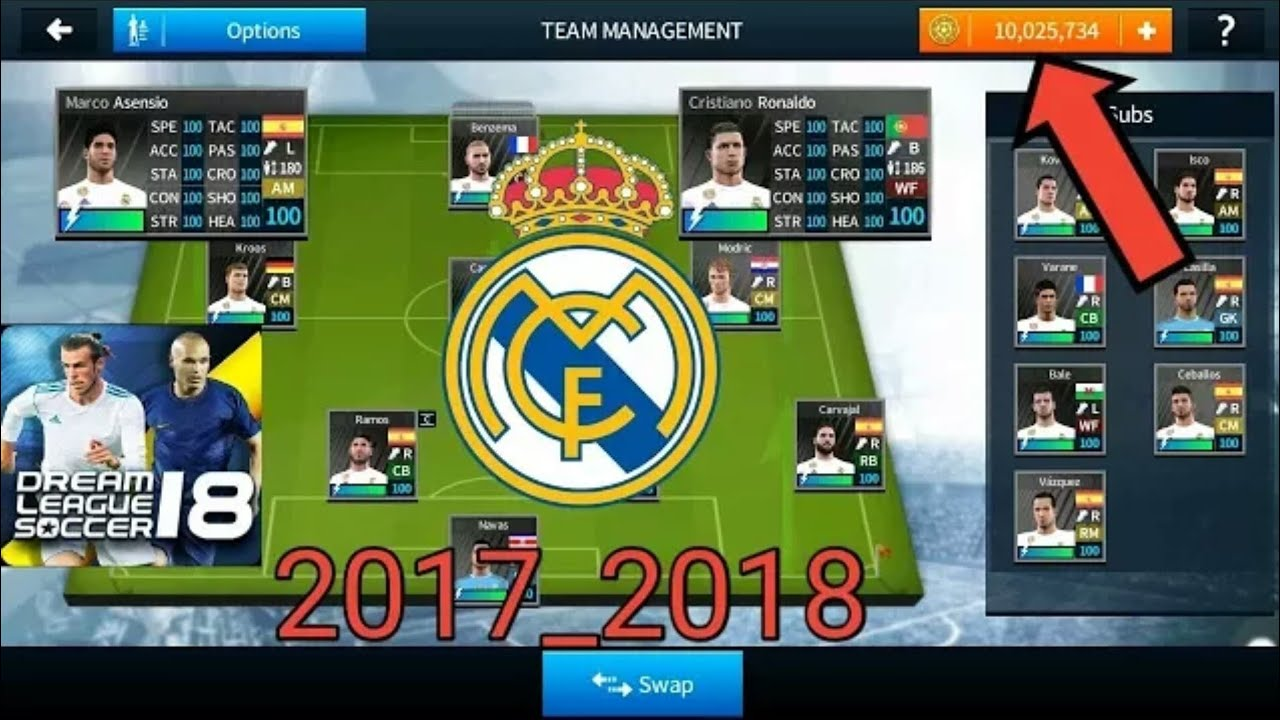 HACK Real Madrid 2018 New Update ALL PLAYERS 100 - DREAM LEAGUE SOCCER 2018 MOD APK HACK & CHEATS #1