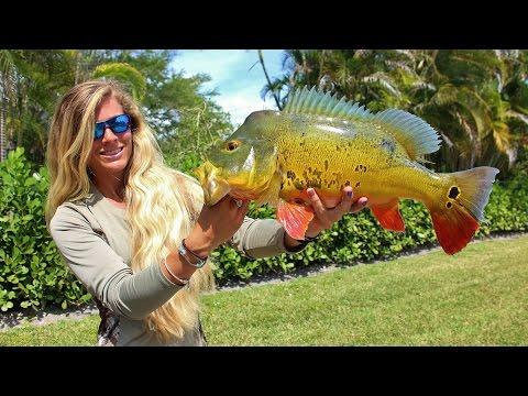 Girl Catching Big Florida Freshwater Peacock Bass