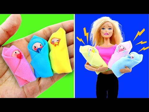 DIY BARBIE HACKS AND CRAFTS: Making Miniature Baby, Pregnant Doll and more