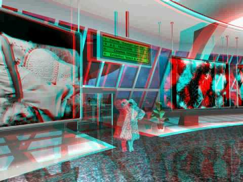 3D stereo anaglyph virtual Artgallery part_3 looking left