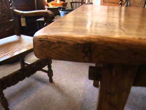 antique elm farmhouse kitchen table youtube - Antique Farmhouse Kitchen Tables