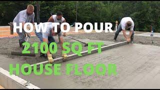 How To Pour 2100 SQ FT Concrete Floor (Dangle Pumping)
