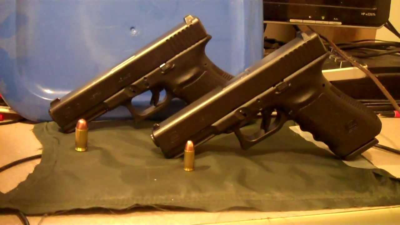 Glock 17 9mm Vs Glock 21 45 Acp Shooting Review Youtube