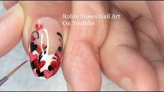 Valentine Nail Art Design For Beginners | Red Heart Nails Tutorial