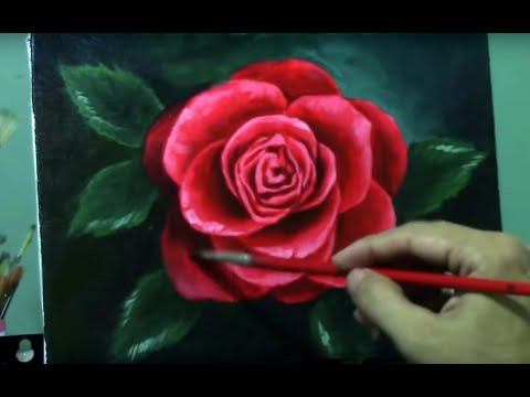Acrylic Painting Lesson - Red Rose by JM Lisondra