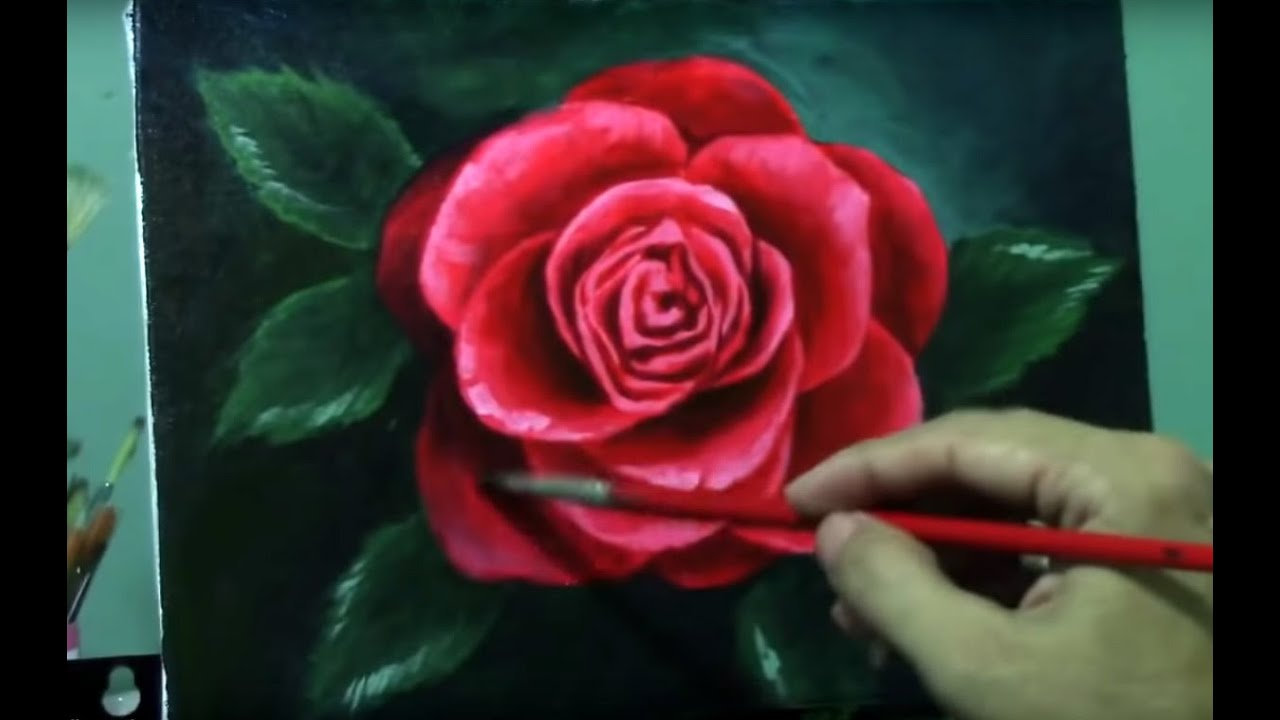 Acrylic painting lesson red rose flower by jm lisondra for How to paint a rose watercolor