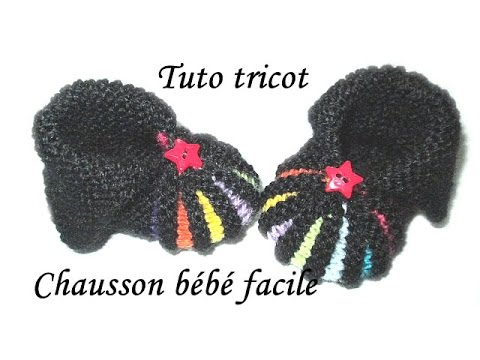 Favorit TUTO TRICOT CHAUSSON BEBE FACILE AU TRICOT POINT DE GODRON - YouTube AA54