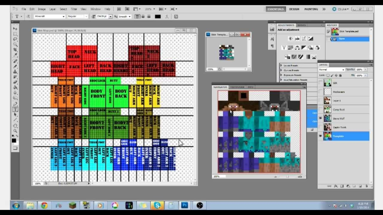 1 8 minecraft skin template map youtube