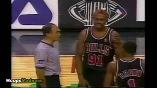 Dennis Rodman | Bulls vs 76'ers 1996 | Player of the Game & Hurts Cameraman!