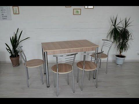 Обеденный комплект Тавол Видрис Б (Стол+4 стула) 110смх65смх75см металл хром Ясень