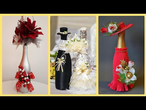 Wine Bottles Decoration Ideas With Ornaments,Wedding Wine Bottles