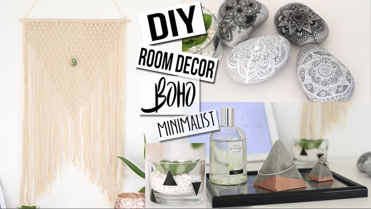 diy deco 4 idees boho minimalist chambre salon tumblr pinterest room decor francais youtube. Black Bedroom Furniture Sets. Home Design Ideas