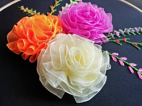 Ribbon Rose Embroidery - Ribbon Rose Flower Tutorial  Ribbon Embroidery Designs
