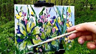 Наброски и зарисовки растений. Весенний пейзаж на пленэре гуашью.