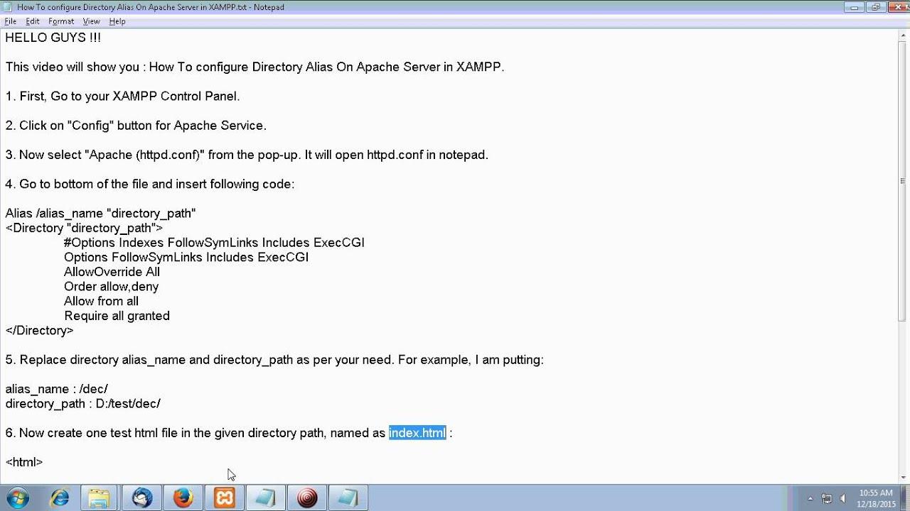How To configure Directory Alias On Apache Server in XAMPP