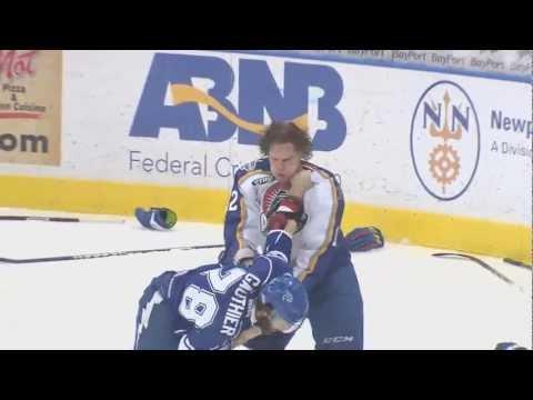 Hockey Fight! Danick Gauthier vs. John Kurtz, 3-30-13