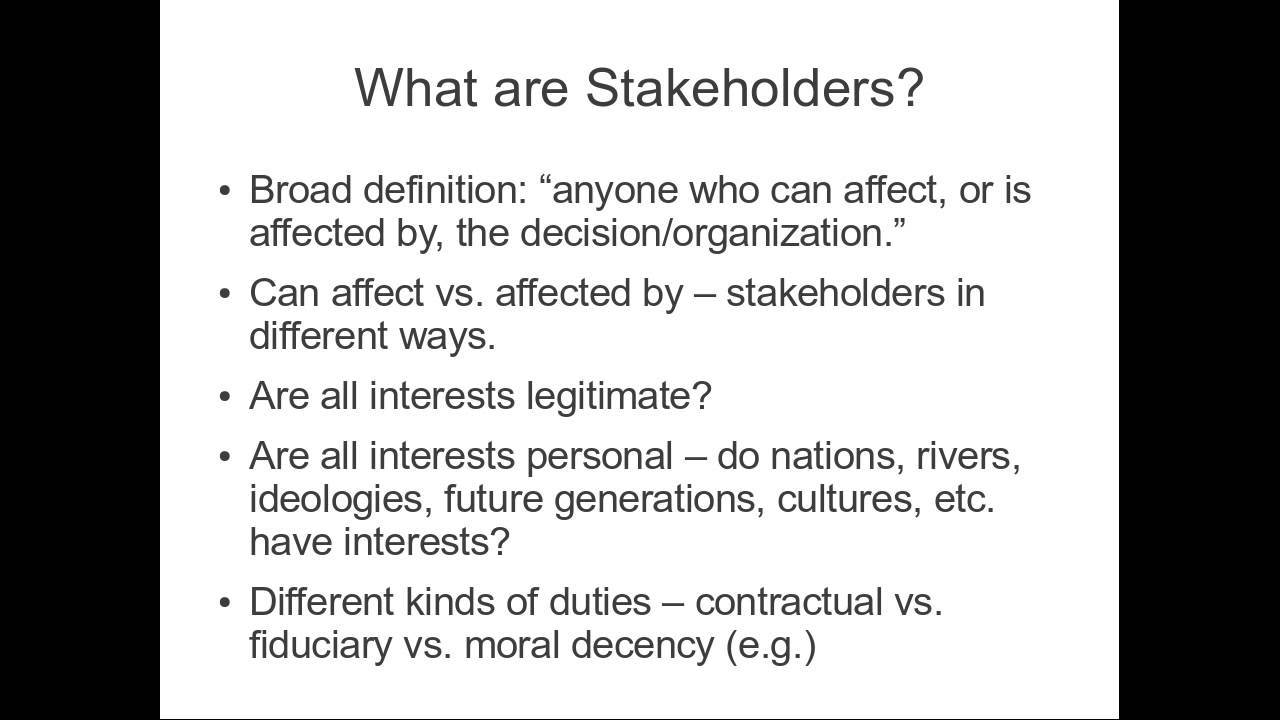 unit 1 p2 different stakeholders essay These are less important stakeholders but we want to keep on the right side of them we want to be compliant with regulations and avoid disputes and prosecutions it is essential to strike the right balance between the needs of the different stakeholders, but some are more important than others.