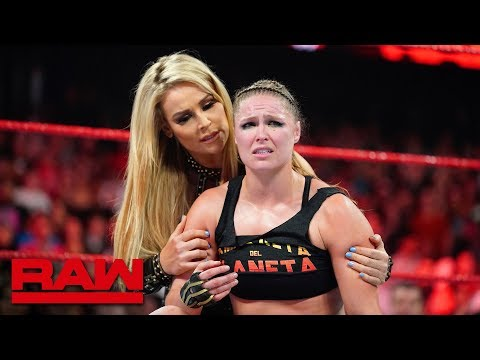 Natalya helps Ronda Rousey leave the arena following Bella Twins' attack: Raw Exclusive, Oct 8, 2018
