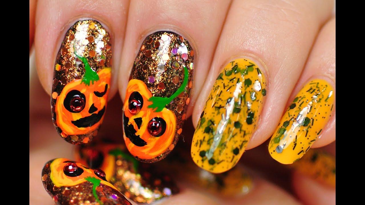 Nail Art. Halloween Pumpkin. - YouTube