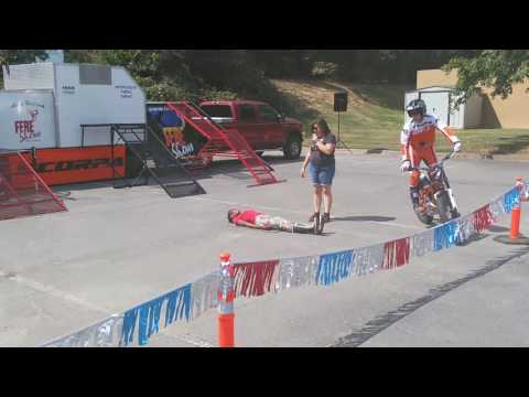 Adam Holbrook trials motorcycle champion bunny hopping my wife.