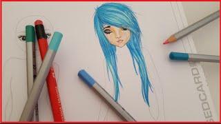 Topmodel Malbuch | How to draw Emo Hair | Scene Frisur malen | Copics || Foxy Draws