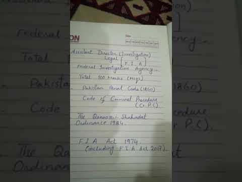 F I A Assistant director investigation Legal Syllabus
