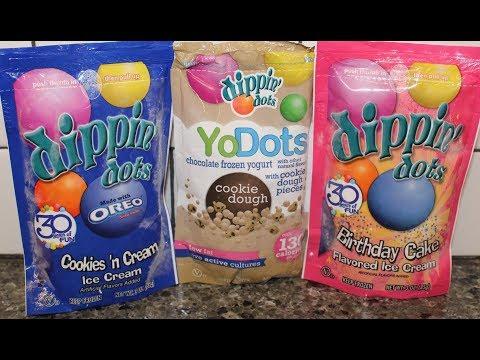 Dippin Dots Ice Cream: Oreo Cookies & Cream, Chocolate Chip Cookie Dough & Birthday Cake Review