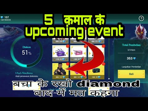 5 UPCOMING EVENT OF FREE FIRE || FULL DETAIL || 90% DISCOUNT EVENT || NEW TOPUP EVENT || BSR GAREEB