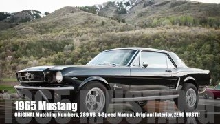 1965 Ford Mustang MATCHING NUMBERS ORIGINAL 289 V8, 4-Speed Manual, NEW PAINT, ZERO Rust!