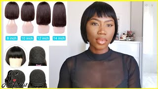 ALIEXPRESS WIG UNBOXING | Short Bob Wig With Bangs Straight Brazilian Hair Wigs | AMI FULLEST