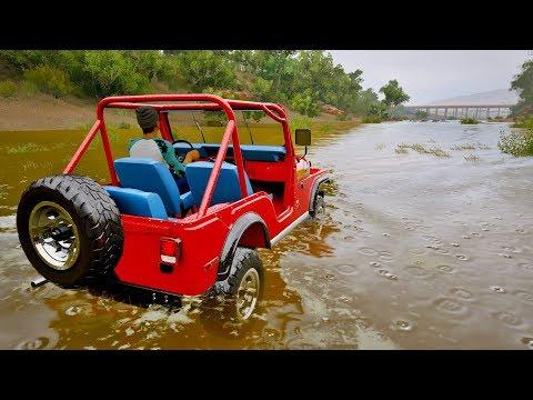 Forza Horizon 3 - Jeep com Motor de Lamborghini Huracan - Desafiei o Getaway Driver no Racha da Água