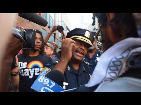 Boston Police Superintendent-In-Chief speaks to protesters
