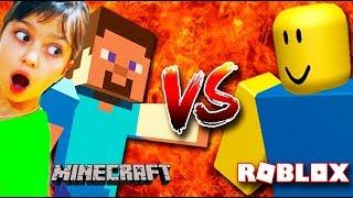 МАЙНКРАФТ или РОБЛОКС? Что круче? Валеришка поспорила с ПАПОЙ Челлендж Roblox vs Minecraft Challenge