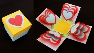 Heart explosion box - learn how to make an easy exploding heart gift box from templates - EzyCraft