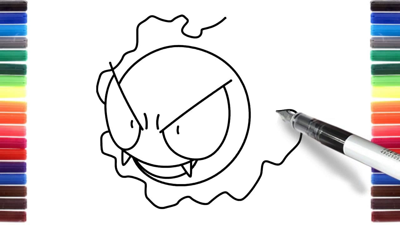 How To Draw Pokemons Gastly From Pokemon Go Step By Step Easy Youtube