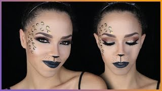 Glam Cat Halloween Makeup Tutorial - Cheetah Halloween Makeup thumbnail