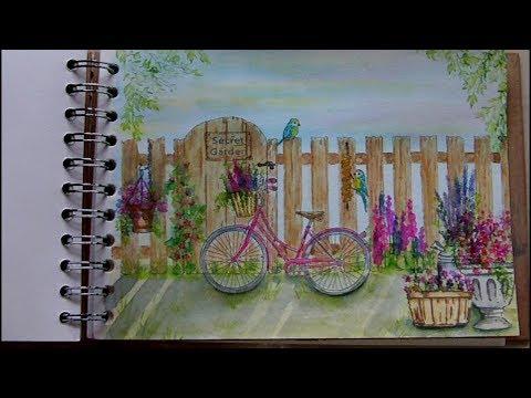 Mixed Media Art Journal Page - Secret Garden - Art Journaling
