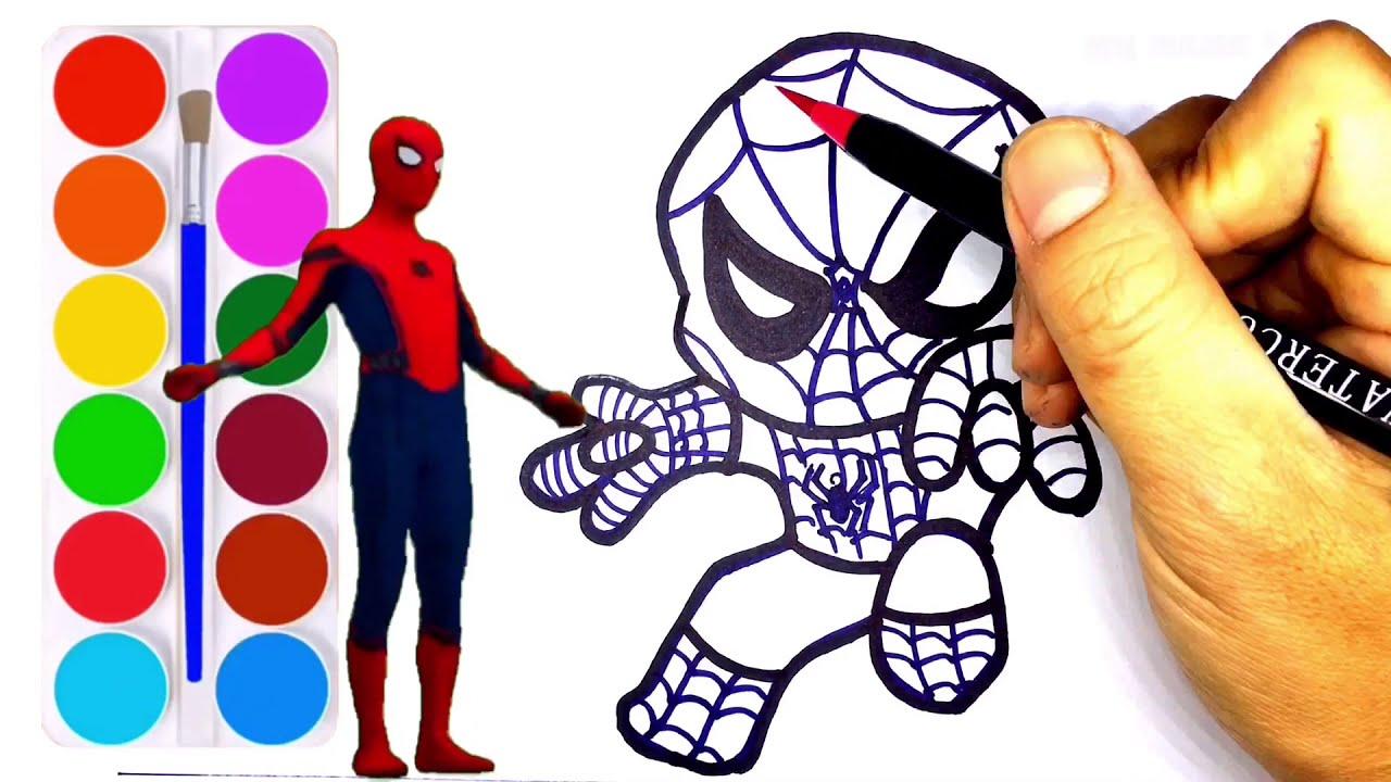 Dạy bé vẽ và tô màu người nhện Series #1- How to draw and color spider man cartoon cute
