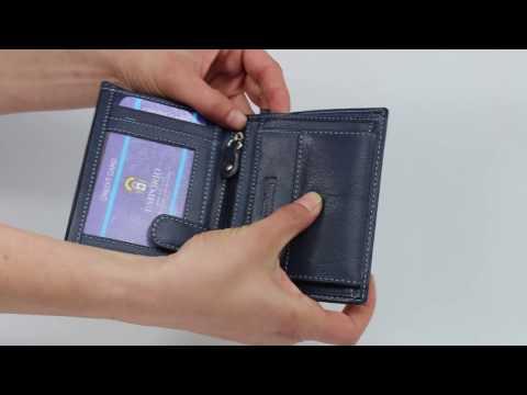 Мъжки портфейл от естествена кожа 6032 в син цвят