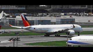 ✈✈ 最新鋭A350導入 フィリピン航空 (Philippine Airlines) Airbus A350-941XWB 香港國際機場 take-off  RWY25L
