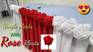 Baixar Table skirting single pleats with two colors combination and rose pleats design.