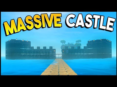 BUILDING A MASSIVE CASTLE! How Big Can We Make It? - Raft Gameplay