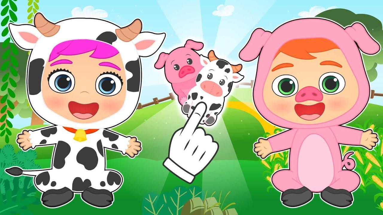 BEBÉS ALEX Y LILY 🐮🐷 se disfrazan de vaca y cerdo