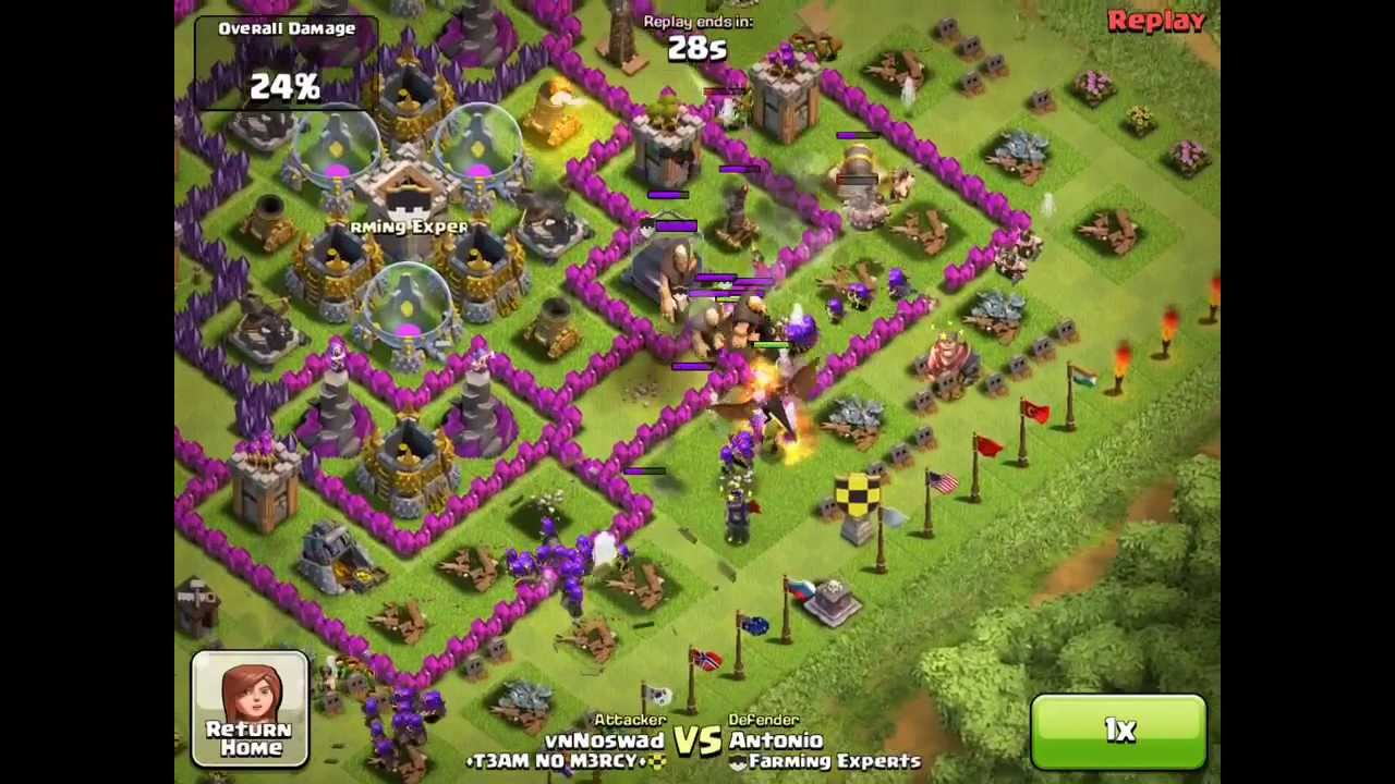 Of clans best farming base for lvl 9 10 town hall base youtube