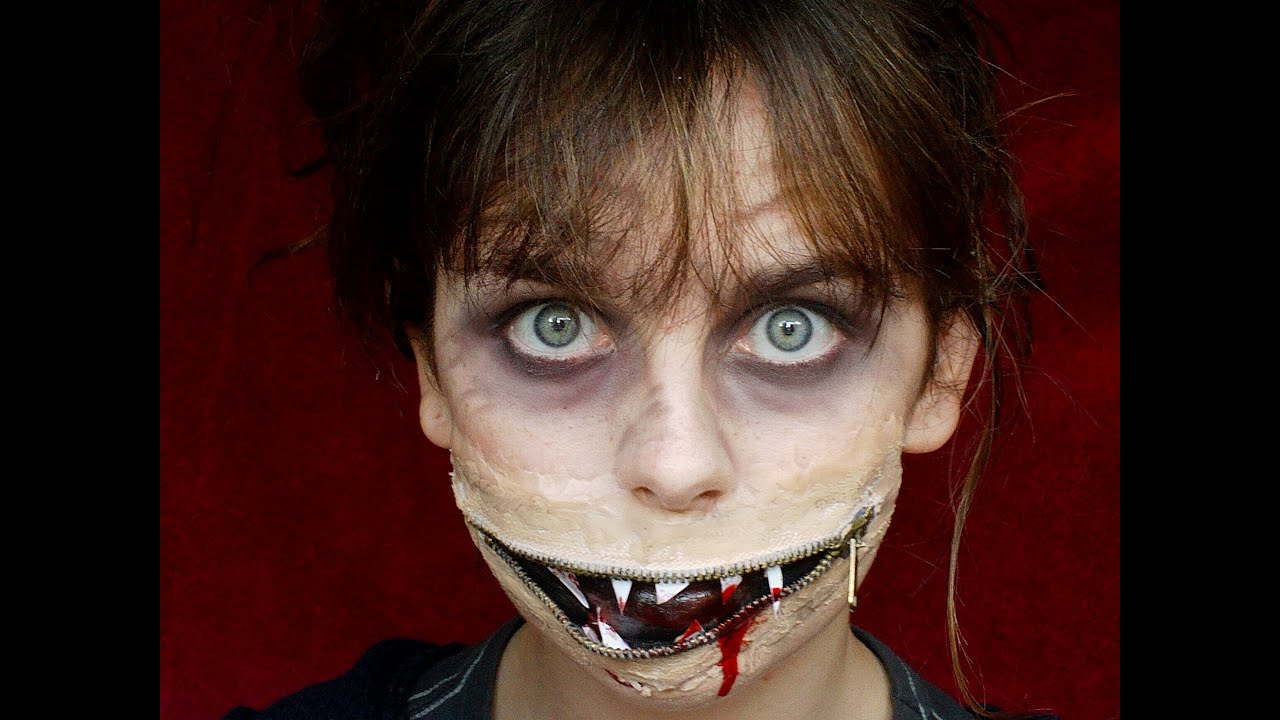 Unzipped Mouth Halloween Makeup Tutorial - YouTube