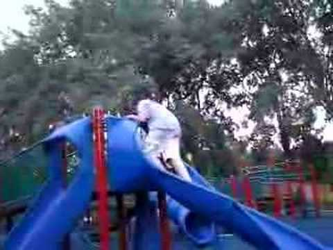 The don'ts of the playground - don't climb up slides 2