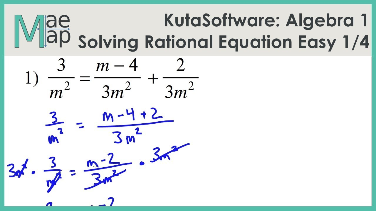 Kutasoftware Algebra 1 Solving Rational Equations Easy Part 1