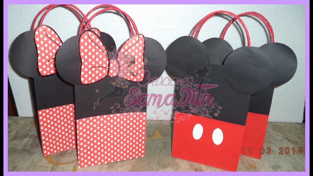 ef2579946 Como hacer Bolsa Sorpresa Mickey y Minnie Cartulina - Bag Cardboard DIY